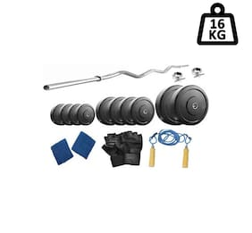 Muskular 16 kg with 3 feet curl rod Home gym package for Beginners