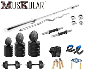 Muskular 20 Kgs + With 4 Rods Weight Lifting Home Gym Fitness Package