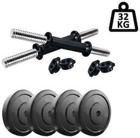 Muskular 32 kg PVC Dumbells Sets;PVC Plates + Dumbells Rods