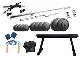 Muskular 38 Kgs PVC weight with Flat Bench home gym package