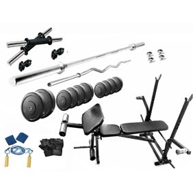 Muskular 50 Kgs PVC weight with 7 in 1 Bench home gym package