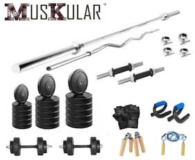 Muskular 60 Kgs With 4 Rods Weight Lifting Home Gym Fitness Package