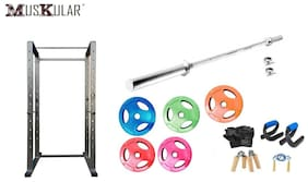 Muskular Olympic Set 100 Kgs With 7 Feet Olympic Bar With Power Rack 500 Kg Capacity