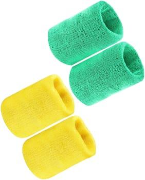 Neska Moda Green & Yellow Wrist band - Set of 4