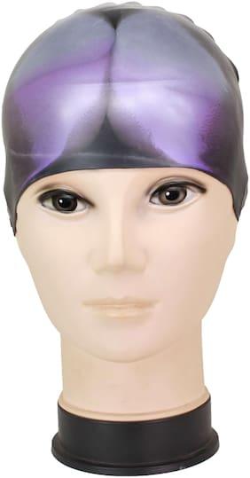 Neska Moda Purple And Black Full Head Cover Unisex Silicon Swimming Cap-Swim69