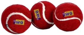 Niro Heavy Weight Rubber Tennis Ball (Red) (Pack of 3)