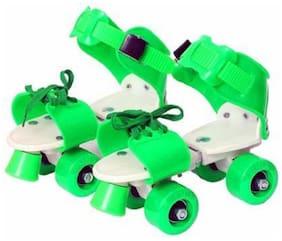 NISWA Adjustable Roller Skates Shoe with Super Rubber Wheel Quad Roller Skates (GREEN)