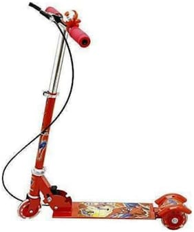 NISWA Kids Foldable 3 Wheel Scooter Cycle with Bell and Hand Brake (red)