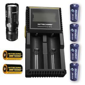 Nitecore EC11 LED Flashlight w/D2 Charger, 2x IMR 18350 +4x FREE CR123 Batteries