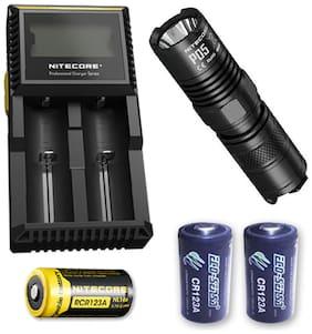 Nitecore P05 BLACK 460 Lumen w/Nitecore D2 Charger, NL166, + 2x CR123A Batteries