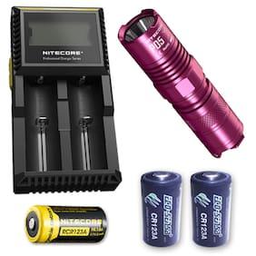 Nitecore P05 PINK 460 Lumen w/Nitecore D2 Charger, NL166, + 2x CR123A Batteries