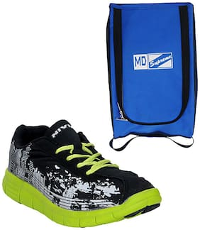 Nivia Black Sports Shoes Combo With Shoe Carrying Bag