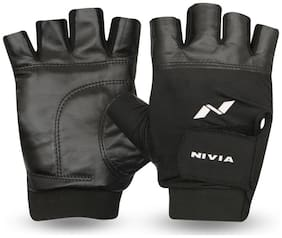 Nivia Leather Gym Gloves with Wrist Band (Black)