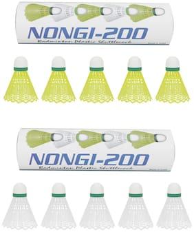 Nongi Plastic Shuttlecocks - Set of 10
