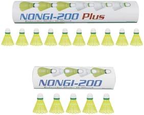 NONGI Combo Plus Plastic Badminton Shuttlecock  Set of 15 (Yellow)