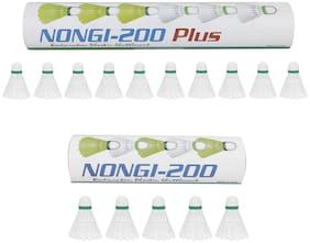 NONGI Combo Plus Plastic Badminton Shuttlecock  Set of 15 (White)