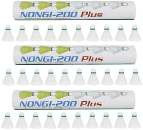 NONGI Plus Plastic Badminton Shuttlecock Pack of 30(White)