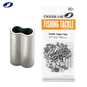 OCEAN CAT Double Barrel Crimp Sleeves 100% Copper Tube Fishing Leader Connector