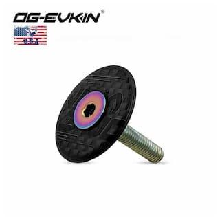 "OG-EVKIN 1-1/8"" Carbon Fiber Headset Covers Stem Top Caps with Titanium Screws"
