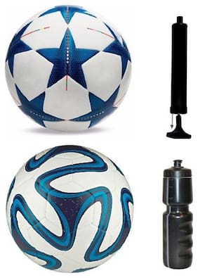 oms best quality 2 PVC football with Pump and 1 Sipper 600ml  Football Kit