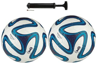 oms best quality PVC football combo pack of two footballs and one pump size 5