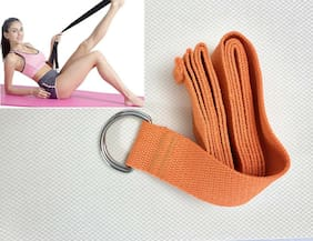Orange D-Ring Yoga Strap Stretching Belt Holding Positions Flexibility Alignment