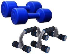 Pack Of 1 kg Each PVC Dumbbell & Push-ups Bar Gym & Fitness Kit