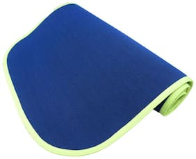 Panchtatava SGS Certified Yoga & Exercise Mat with Belt & Carrying Bag Sporty Blue Base with Neon Green Border-(4mm Thick)