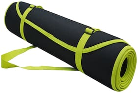 Panchtatava Certified Yoga Mat for Exercise with Belt & Yoga Mat Cover_Stylish Spidy Blue Base with Neon Green Border-(5mm Thick)
