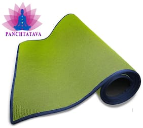 Panchtatava EVA Acupressure Yoga & Exercise Mat with Shoulder Strap & Carrying Bag (6mm Thick_Green:Blue Border)