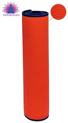 Panchtatava EVA Heavy Duty Neon Yoga & Exercise Mat with Shoulder Strap & Carrying Bag (6mm Thick_Orange:Blue Border)