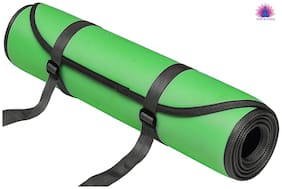 Panchtatava SGS Certified Yoga & Exercise Mat with Belt & Yoga Mat Cover_Classic Dark Sea Green Design with Black Border-(7mm Thick Luxurious yoga mat)
