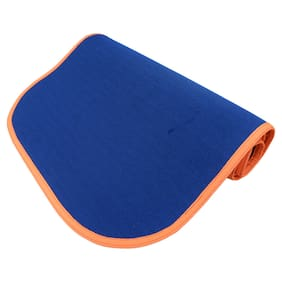 Panchtatava SGS Certified Yoga & Exercise Mat with Belt & Carrying Bag_Sporty Blue Base with Neon Orange Border-(4mm Thick Luxurious Yoga Mat)