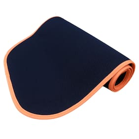 Panchtatava Certified Yoga Mat for Exercise with Belt & Yoga Mat Cover, Stylish Snaky Blue Base with Neon Orange Border-(4mm Thick)
