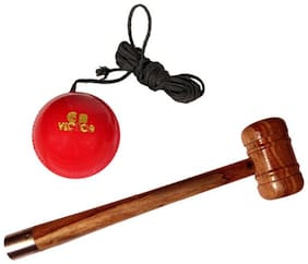 Pandey Sports Combo Wooden Mallet +  Hanging Ball Cricket Kit