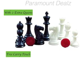 """Paramount 4"""" King Height - Fide Standard Professional Tournament Staunton Chess Pieces/Coins (with Two Extra Queens/ Carry Pouch)"""
