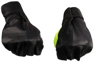 Pickadda Full Leather Gloves for GYMMING/WEIGHTLIFTING With Net Thumb(Green)