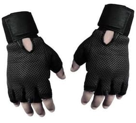Pickadda Gyming Gym/Fitness Gloves (Free Size, Black)