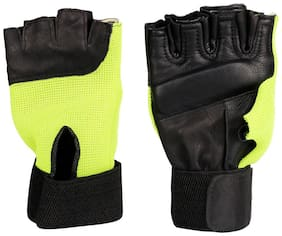 Pickadda Stylish Premium Leather Gym Gloves with Padded Palm Support and Net Outside