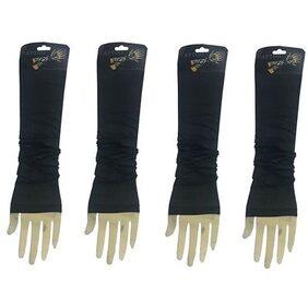 Pickadda Wearable Arm Black Sleeves For Style / Biking Sun Protection - 2 pair