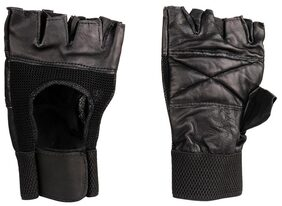 Pickadda Weightlifting Leather Gym Gloves with Padded Palm Support and Stylish Net Outside(Black)