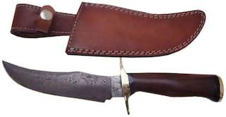 "Pioneer Damascus Steel Hunting Knife Brass Guard,12""PT-264"