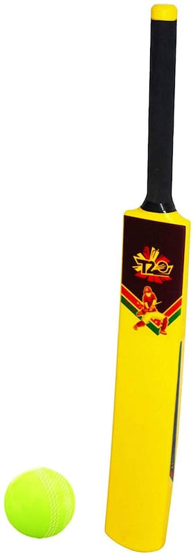 Planet of Toys T20 Special A Grade PVC Plastic Cricket Bat with Ball for Kids, Childrens- (Size 4 )