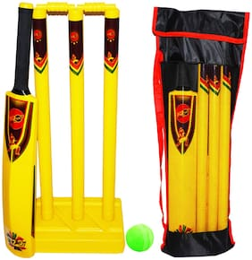 Planet of Toys Cricket Kit Set for Kids Boys & Girls- Yellow (Size 4)