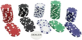 Poker Chips Set 100 Coin Non Printed | 11.5 GMS Each | Round | Assorted Colour | Party | Festival Gift | Dual Tone Colour