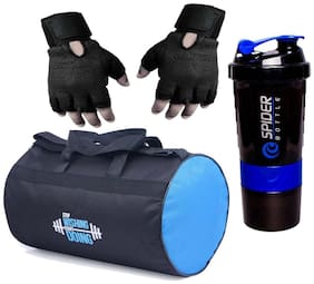 Polyester Long Lasting Material, Duffel Bag, Gym Bag with Sport Sipper Water Bottle and Gloves