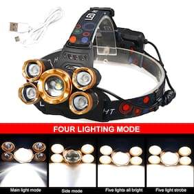 Powerful 5-LED Zoom LED Rechargeable Headlamp Head Light Torch Charger US
