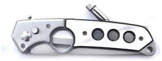 Prijam Knife Slb-07 Foldable Pocket Silver Knife With Led Torch(13cm)