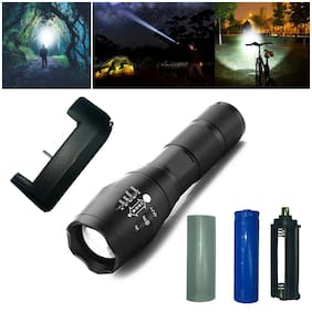 Professional LED Zoomable Flashlight Torch With Aluminium Body with cahrger and Rechargeable Battery(Black)
