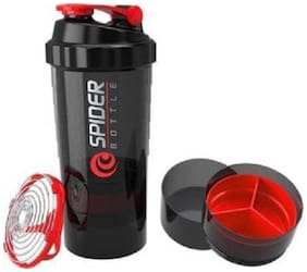 Protein Shaker Bottle for Gym - Vitamins Pills and Supplements Storage Two Detachable Compartments Sports Sipper Bottle